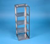 CellBox Mini Truhengestell für 4 Kryoboxen bis 122x122x128 mm Klappgriff, Edelstahl
